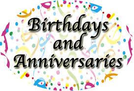 birthdays, anniversaries and reunions