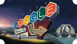 Google Doodle commemorating drive-in theaters