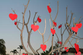 Love of life, hearts on trees