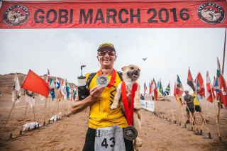 Dion Leonard, ultra marathon runner, and Gobi, the amazing dog