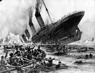 Artist rendering of the sinking Titanic by Will Stoewer