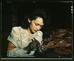 Woman aircraft worker - picture from Flickr Library of Congress collection